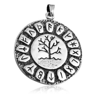 925 Sterling Silver Tree of Life Nordic Norse Runes Runic Round Charm Pendant - SilverMania925