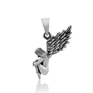 925 Sterling Silver Winged Wings Magic Fairy Princess Heaven Lady Charm Pendant - SilverMania925