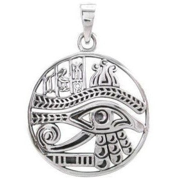 925 Sterling Silver Egyptian Symbols Eye of Horus God Ra Udjat Charm Pendant - SilverMania925