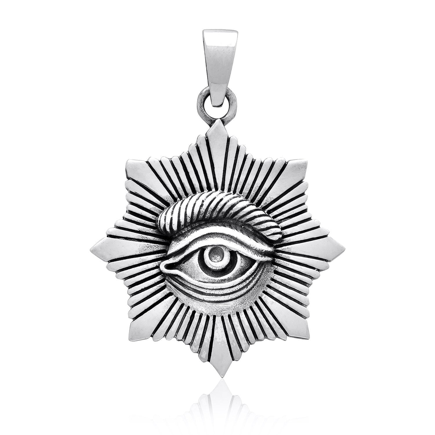 925 Sterling Silver All Seeing Egyptian Eye Of Horus Protection Pendant
