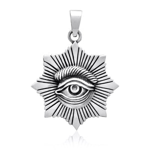 925 Sterling Silver All-Seeing Egyptian Eye of Horus Protection Pendant - SilverMania925