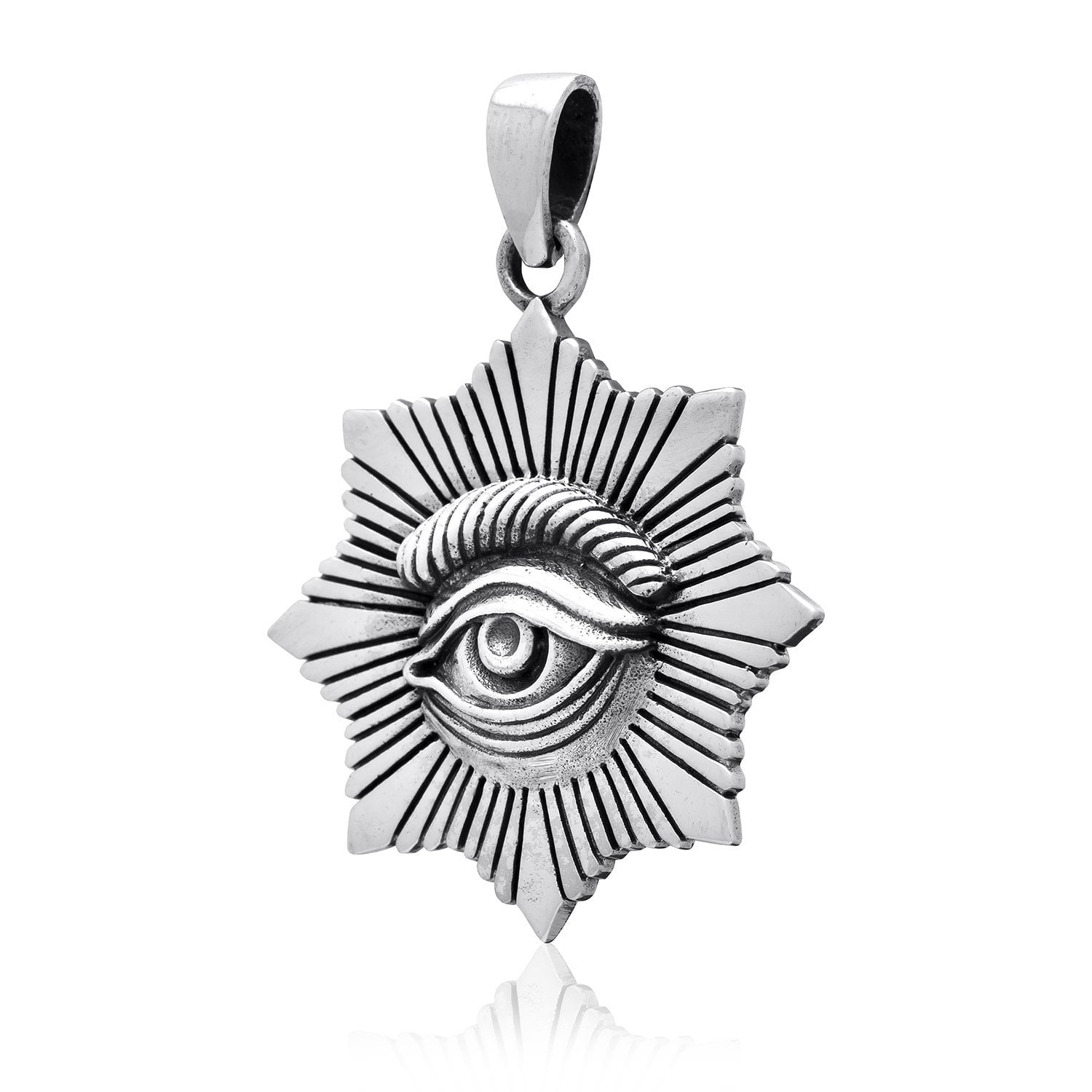 925 Sterling Silver All-Seeing Egyptian Eye of Horus Protection Pendant
