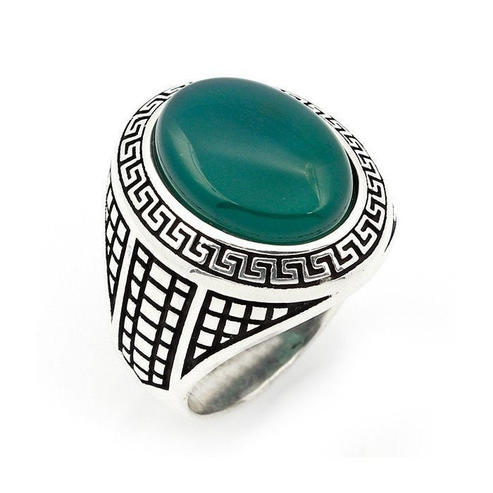 925 Sterling Silver Mens Green Agate Greek Key Meander Patterned Sides Ring - SilverMania925