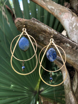 Dumortierite Teardrop Hoops