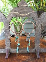 Copper Hoops with Turquoise + Feathers