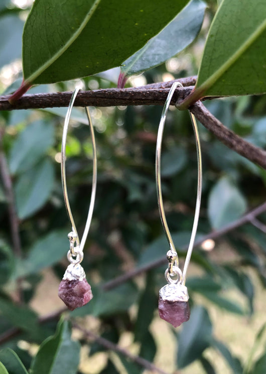 Pink Tourmaline Nuggets on Sterling Silver Wire