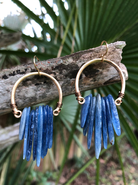 Blue Kyanite Hoops