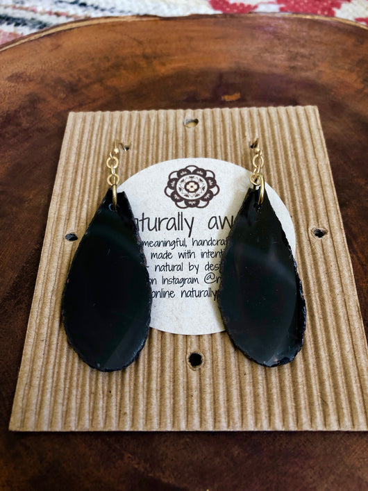 Black Agate Slice Drops