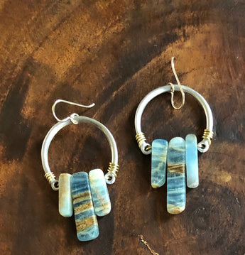Blue Calcite Hoops