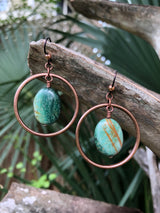 Verdite Copper Hoops