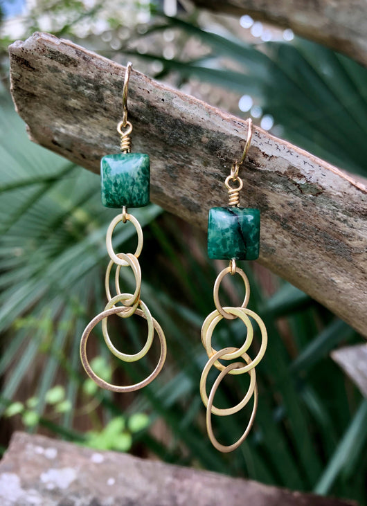 Verdite on 14K gold-plated sterling silver hoops