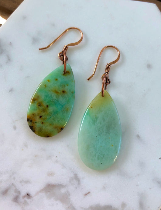 Chrysoprase Teardrops Made Upon Order