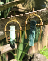 Hand-hammered Bronze Hoops with Burma Jade
