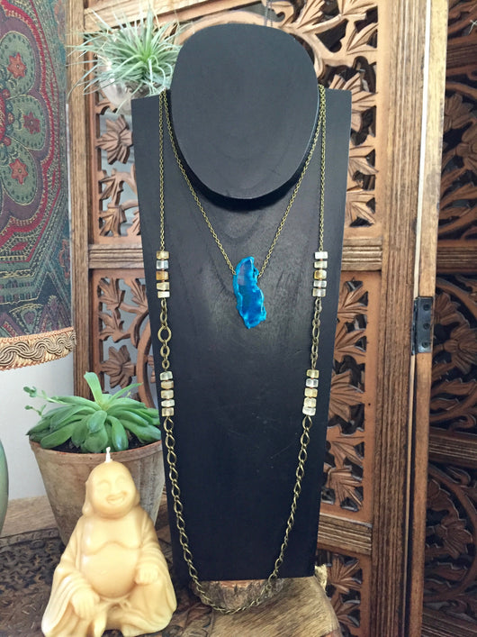 Blue Agate Slab + Citrine Double Necklace