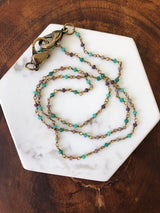 Turquoise + Lavender Crystal Beads on Brass Chain Holder