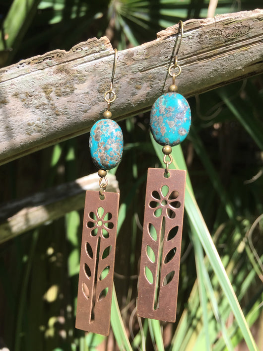 turquoise magnesite + stenciled flowers dangles