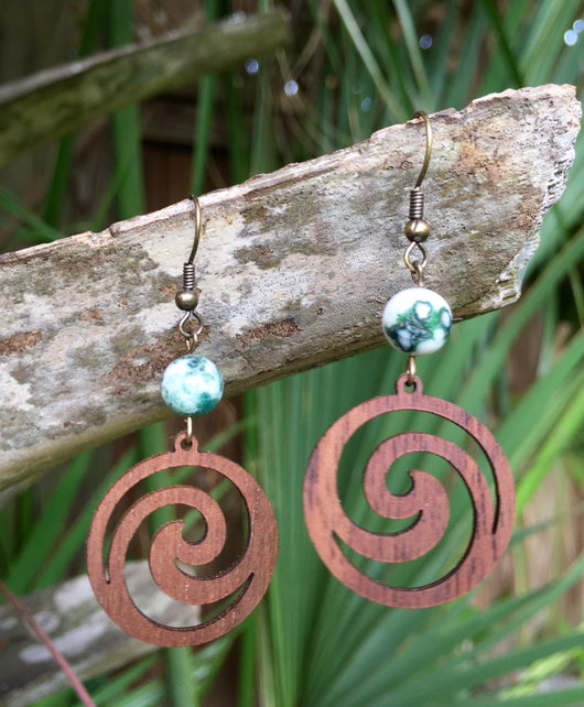 Walnut Wood Spiral + Tree Agate