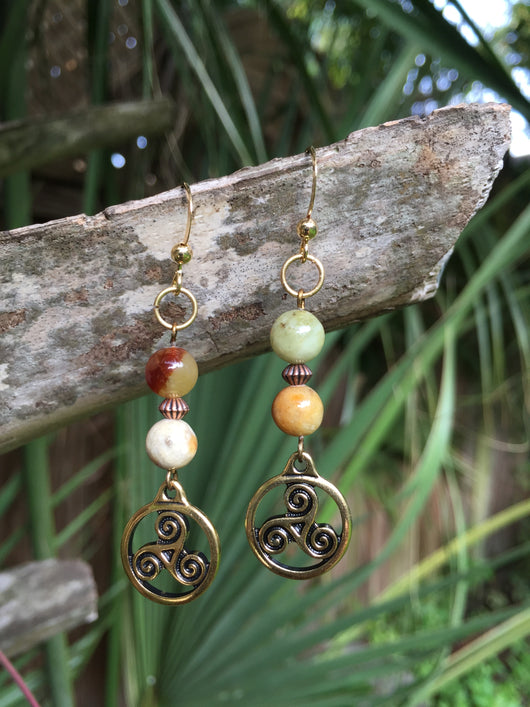 Soochow Jade + Land, Sea + Sky Earrings