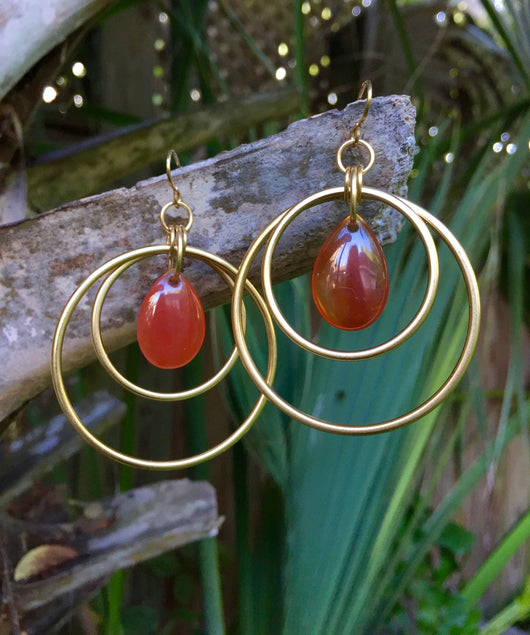 Red Agate Double Hoops