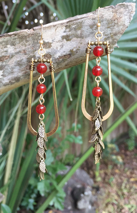 Red Carnelian + Antique Brass-plated Falling Leaves