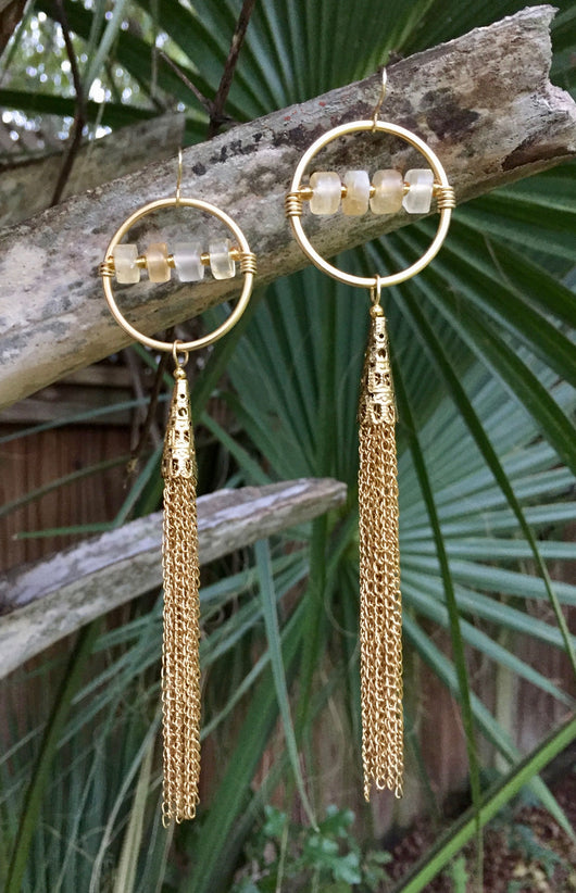 Citrine Antique Gold-plated Tassels