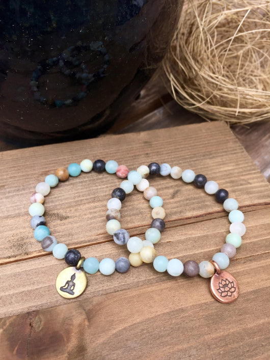 Black Gold Amazonite Stretch Bracelets