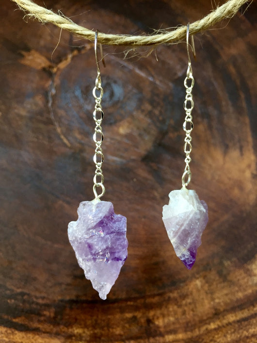 Amethyst Arrowhead Earrings