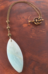 Black Gold Amazonite horse eye drop necklace