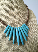 Blue Magnesite Spike Fan Focal + Copper Necklace