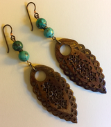 carved bone + African turquoise earrings