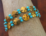 Blue opal crystal + hammered coin link brass bracelet