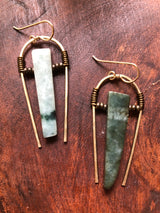 Burma Jade on Hammered Solid Brass Hoops