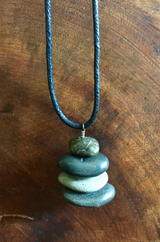 Natural River Stone Cairn Necklace 🍃