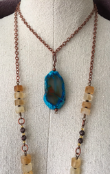 citrine + blue agate slab necklace