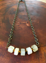 Citrine wheels + tiger's eye chakra necklace