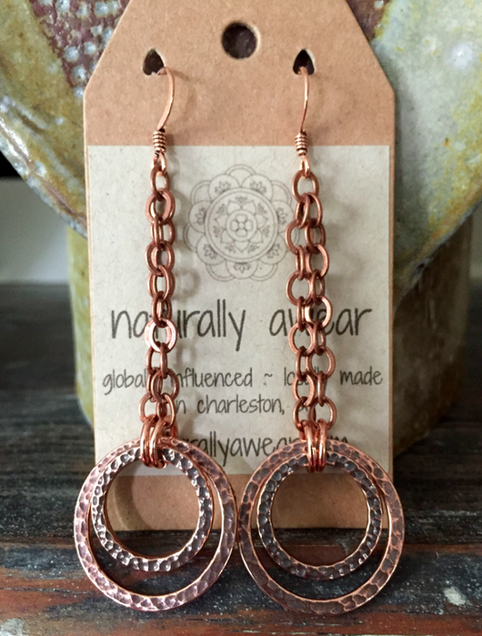 hammered antique copper double hoops custom order