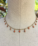 Coral Sunflower Charm Necklace