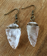 Mother Earth quartz crystal arrowhead earrings