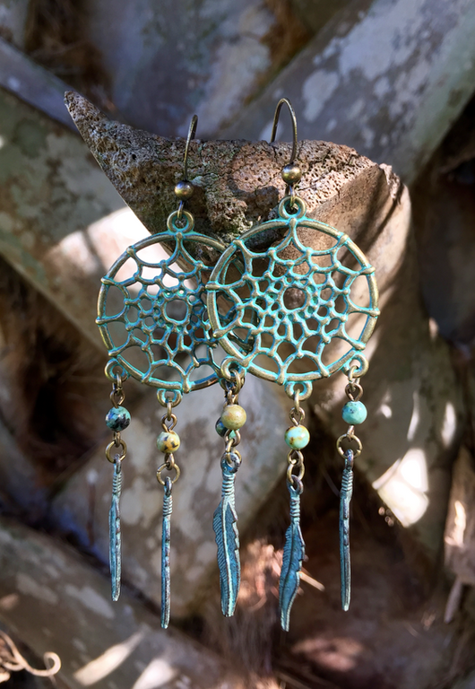 dreamcatcher with turquoise + feathers