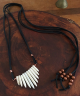 Magnesite spike fan + copper beaded leather wrap