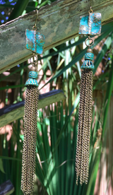 patina green brass tassel earrings