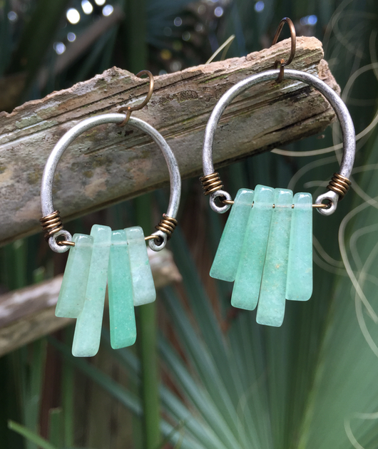 green aventurine dangles