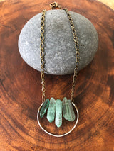 Bottle Green Quartz Points on Hammered Sterling Silver Hoop