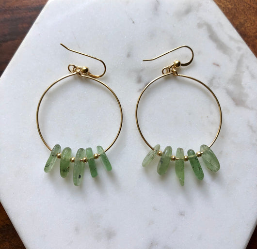 Green Kyanite Gold-filled Hoops