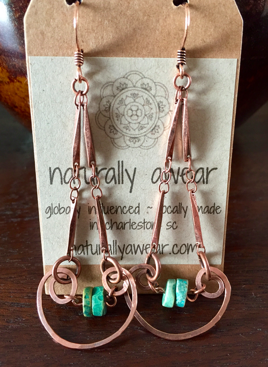 hand-shaped + hammered C-scroll + turquoise earrings