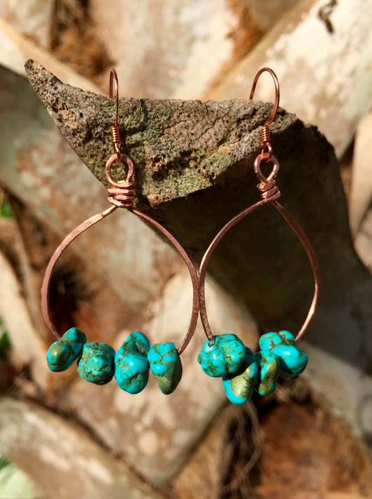 hammered copper hoops + turquoise magnesite custom order