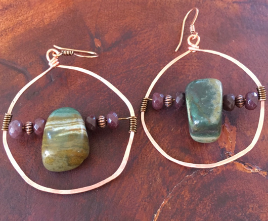 handcrafted, hammered copper hoops with jasper + aventurine