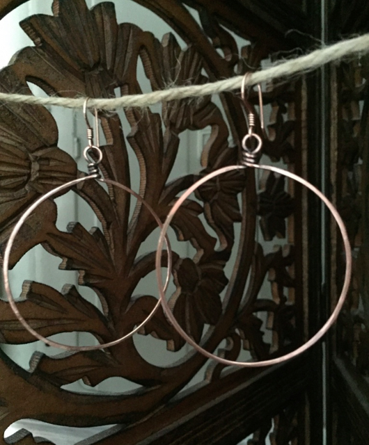 handcrafted hammered copper hoops