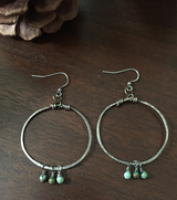 handcrafted hoops with turquoise drops