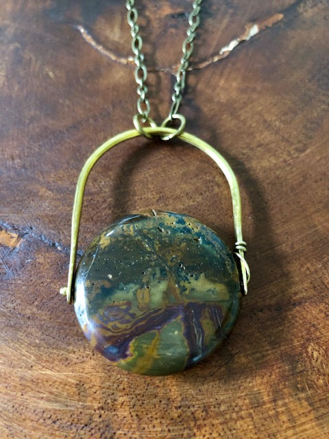 Jasper on Hammered Bronze